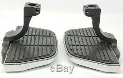 00-17 Harley Softail Passenger Floorboard Footboard Kit Black & Chrome