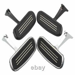 Black/Chrome Passenger Floorboard Mounting Brackets Foot Pegs For Touring 93-up