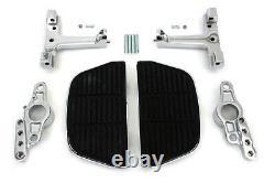 Chrome D-Shaped Passenger Floorboard with Swingarm Mount Kit Harley Touring 07-08