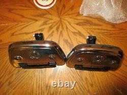 OEM Harley Davidson Softail Passenger Floorboards With New Chrome Skull Covers