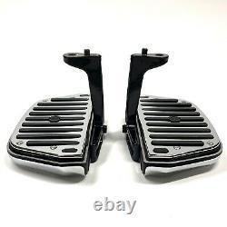 OEM Harley Touring Rubber Chrome Script Passenger Floorboards Foot Boards Mounts